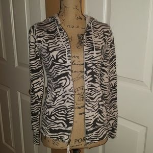 Lucy Zebra Print Zip-up Hoodie Jacket S